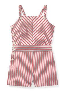 Ralph Lauren Striped Bow-Back Cotton Romper
