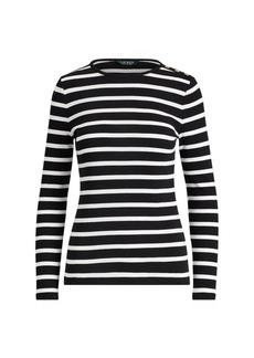 Ralph Lauren Striped Button-Shoulder Top