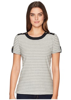 Ralph Lauren Striped Button-Shoulder Top