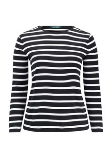 Ralph Lauren Striped Buttoned-Shoulder Top