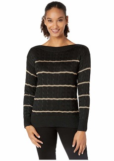 Ralph Lauren Striped Cable-Knit Sweater