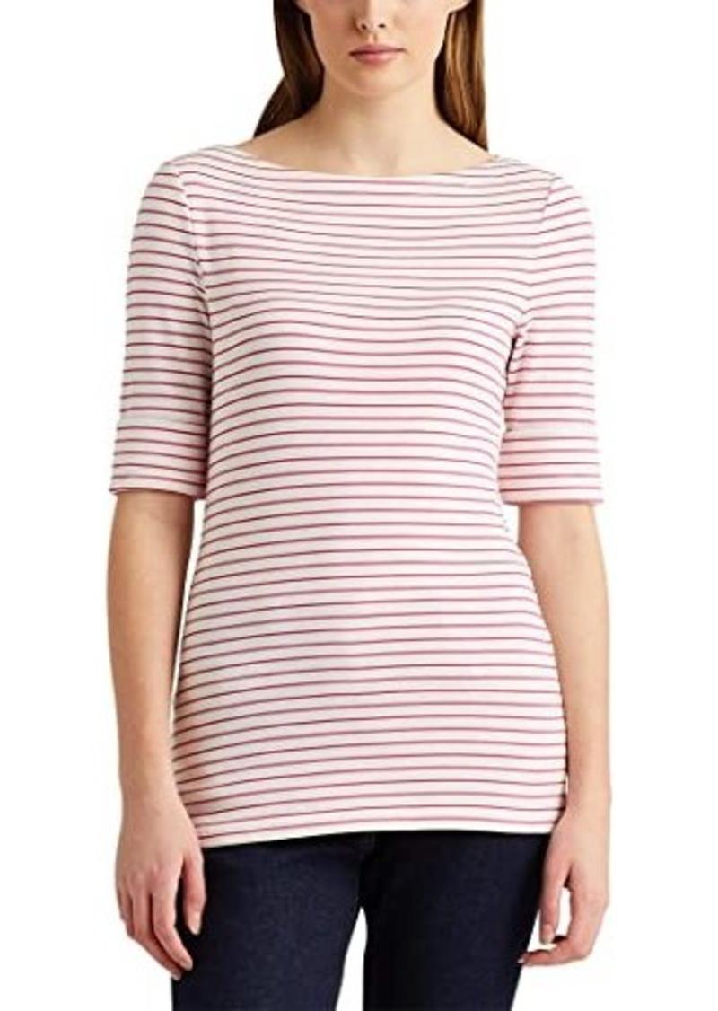 Ralph Lauren Striped Cotton-Blend Boatneck Top