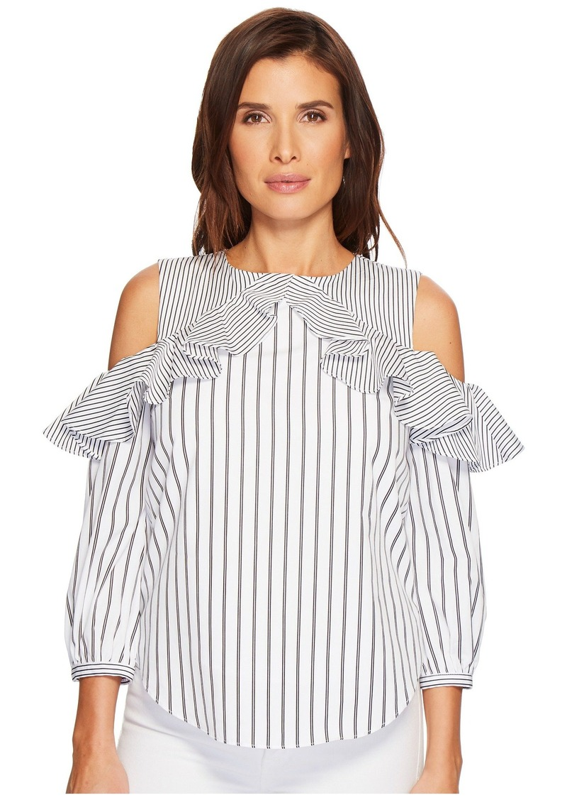 Ralph Lauren Striped Cotton Cold-Shoulder Shirt
