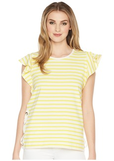 Ralph Lauren Striped Cotton Flutter Sleeve T-Shirt