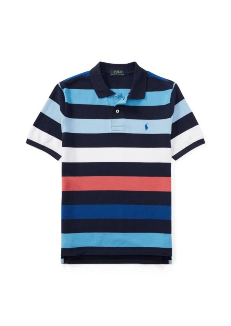 864173418 Ralph Lauren Striped Cotton Mesh Polo Shirt Now $19.99