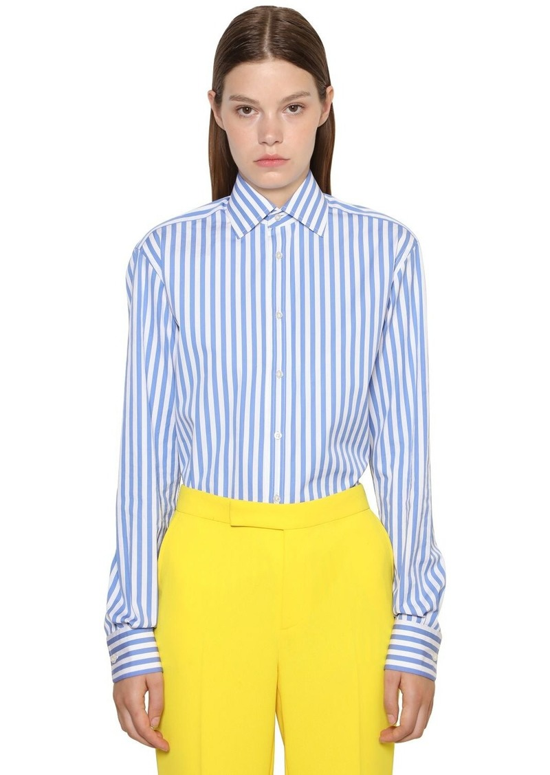 Ralph Lauren Striped Cotton Poplin Boyfriend Shirt