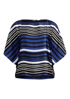 Ralph Lauren Striped Dolman Satin Blouse