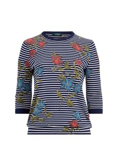 Ralph Lauren Striped Floral-Print Top