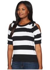 Ralph Lauren Striped French Terry Cold-Shoulder Top