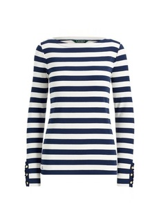 Ralph Lauren Striped Jersey Boatneck Top