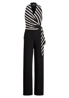 Ralph Lauren Striped Jersey V-Neck Jumpsuit