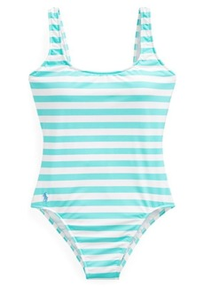 Ralph Lauren Striped Lace-Up-Back One-Piece