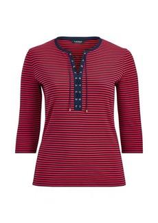 Ralph Lauren Striped Lace-Up Cotton Top