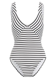 Ralph Lauren Striped Lace-Up One-Piece Suit