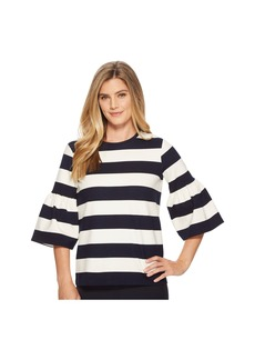 Ralph Lauren Striped Ponte Bell-Sleeve Top
