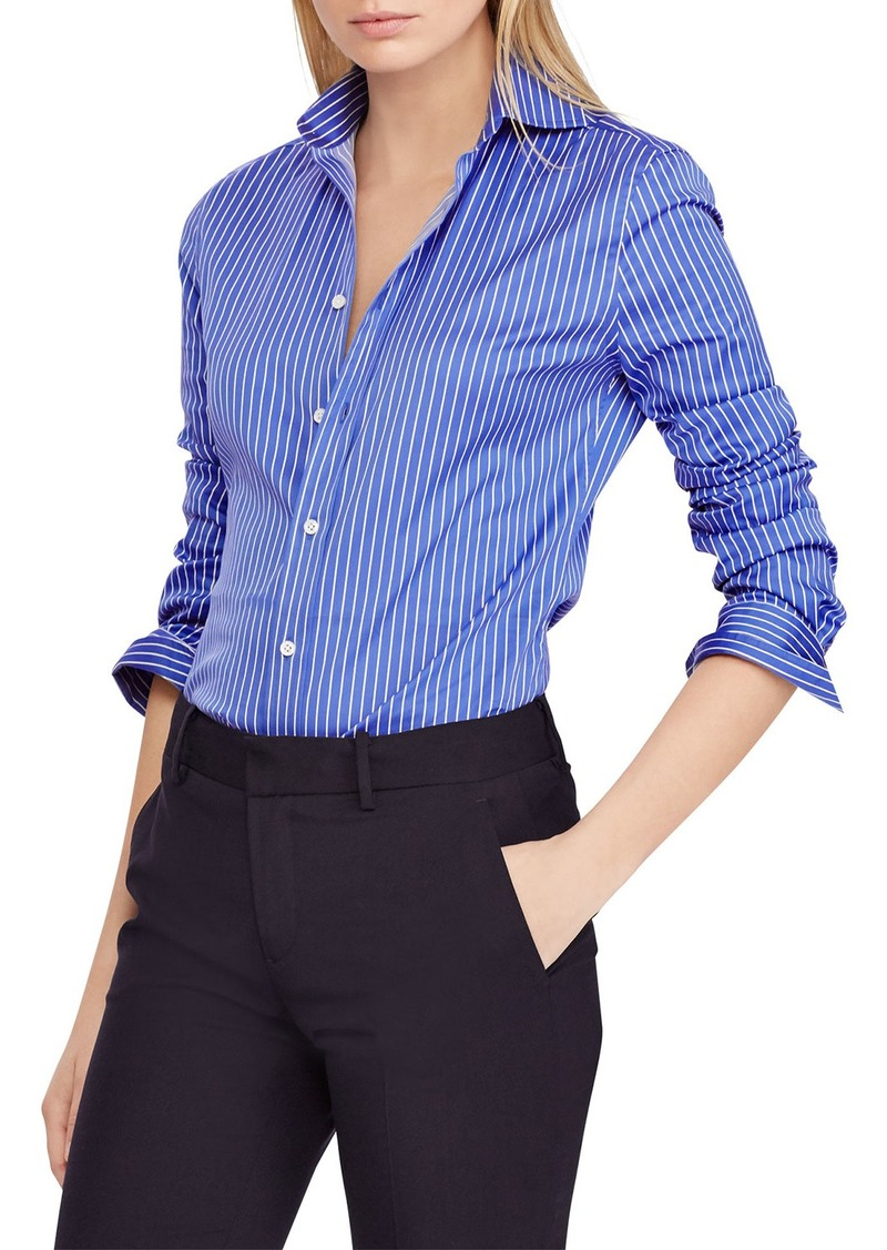 Ralph Lauren Striped Poplin Button-Front Shirt