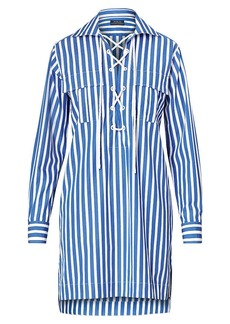 Ralph Lauren Striped Poplin Lace-Up Dress