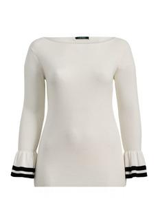 Ralph Lauren Striped Ruffled-Cuff Sweater
