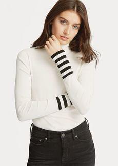 Ralph Lauren Striped-Sleeve Turtleneck