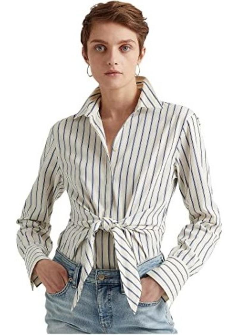 Ralph Lauren Striped Tie-Front Cotton Dobby Shirt