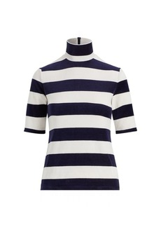 Ralph Lauren Striped Velour Turtleneck Top