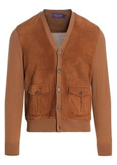 Ralph Lauren Suede Front Cardigan Sweater
