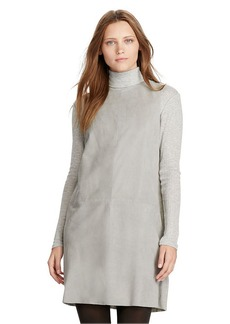 Suede-Front Shift Dress