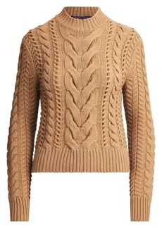 Ralph Lauren Suede Lacing Cable Knit Sweater