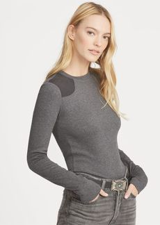 Ralph Lauren Suede-Trim Crewneck Top