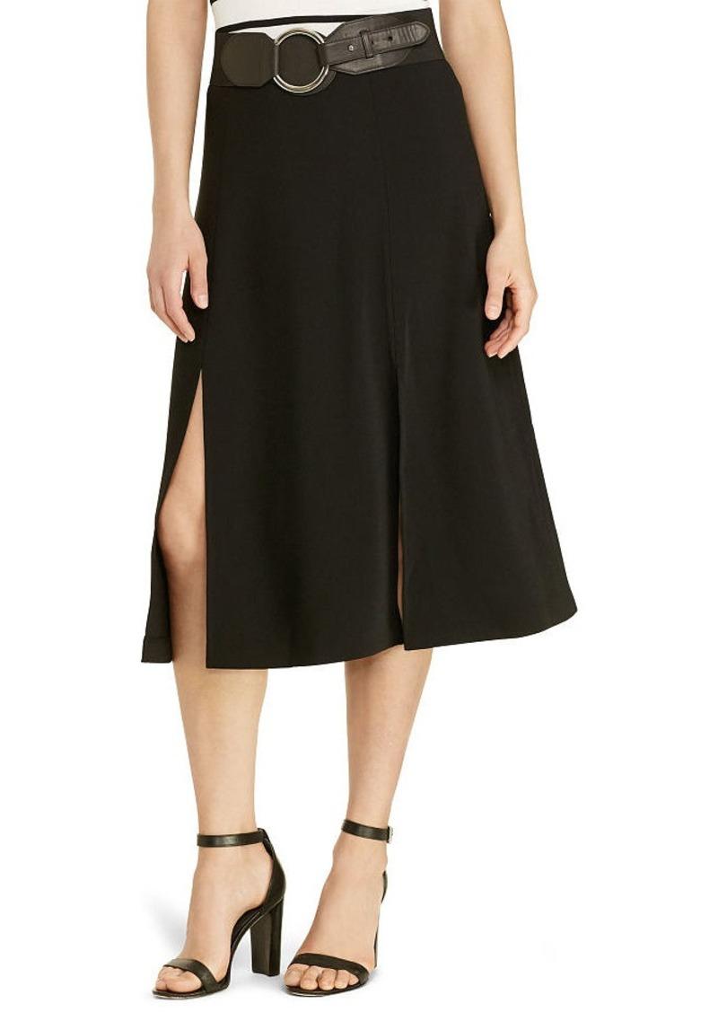 Ralph Lauren Sueded Crepe Midi Skirt