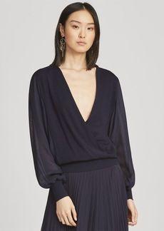 Ralph Lauren Surplice Wool-Silk Blouse
