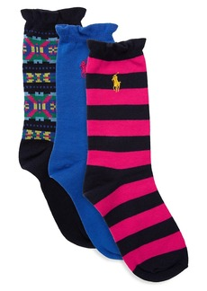 Ralph Lauren Three-Pack Graphic Fair Isle Socks