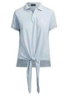 Ralph Lauren Tie-Front Mesh Polo Shirt