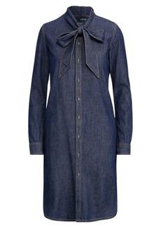 Ralph Lauren Tie-Neck Denim Dress