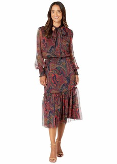 Ralph Lauren Tie Neck Georgette Dress