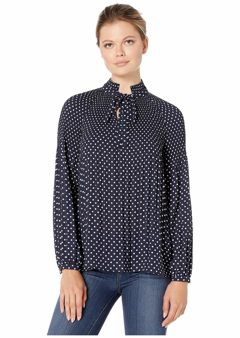 Ralph Lauren Tie Neck Georgette Top