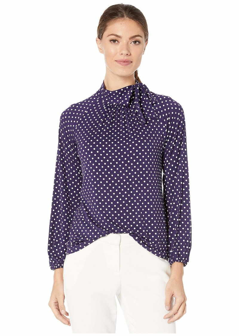 Ralph Lauren Tie Neck Jersey Top