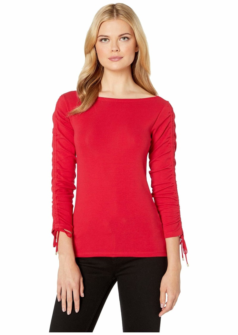 Ralph Lauren Tie-Sleeve Cotton Top