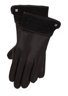 Ralph Lauren Trapunto-Cuff Leather Gloves
