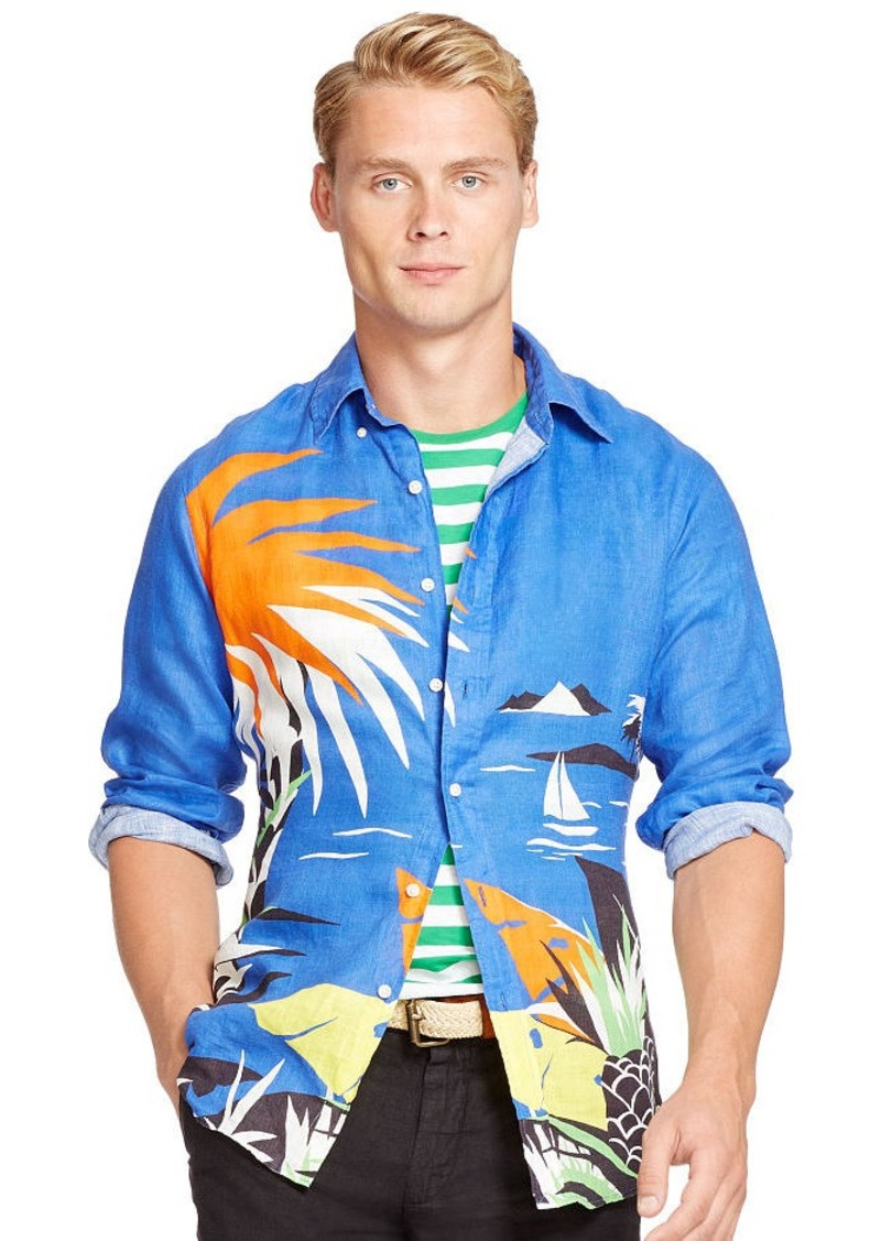 Ralph Lauren Tropical-Print Linen Shirt