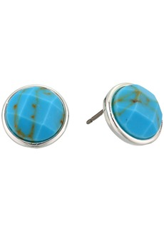 Ralph Lauren Turquoise Stone Button Earrings