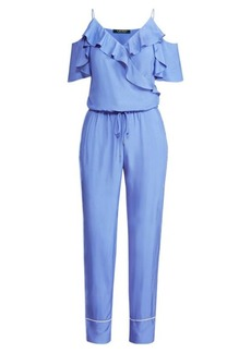 Ralph Lauren Twill Cold-Shoulder Jumpsuit