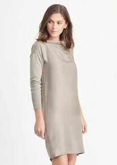 Twill-Front Sweater Dress