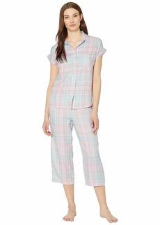 Ralph Lauren Twill Woven Short Sleeve Dolman His Shirt Capri Pants Pajama Set