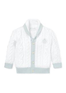 Ralph Lauren Two-Tone Aran & Cable Knit Cardigan  Size 6-24 Months