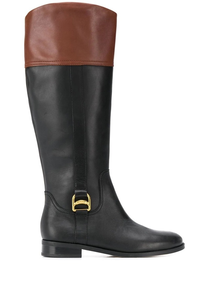 Ralph Lauren two tone knee-height boots