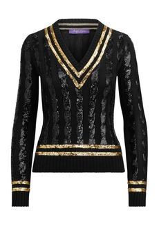 Ralph Lauren V-Neck Cricket Sequin Sweater