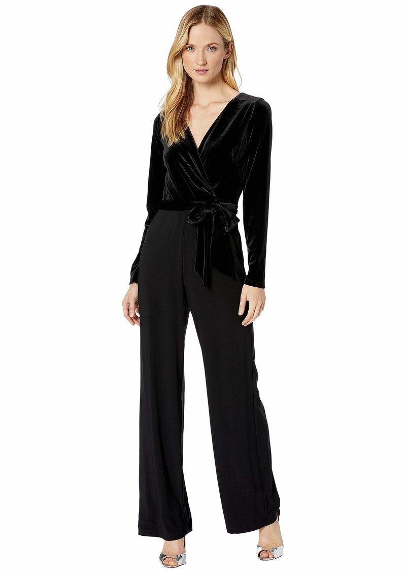 Ralph Lauren Velvet-Bodice Jersey Jumpsuit