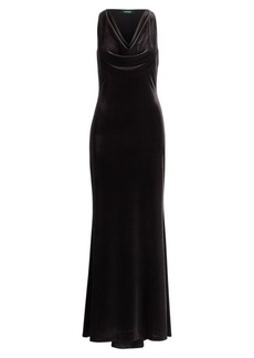 Ralph Lauren Velvet Cowlneck Gown