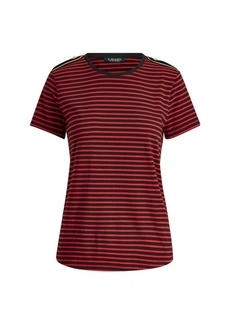 Ralph Lauren Velvet-Epaulet Cotton T-Shirt